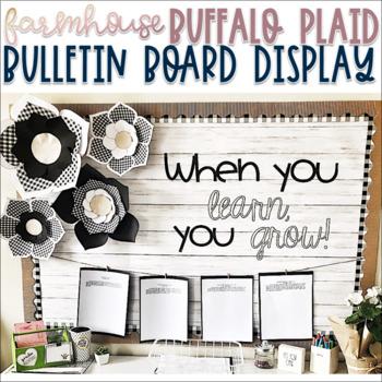 Farmhouse - Shiplap & Buffalo Plaid Bulletin Display with Paper Flowers - Decor