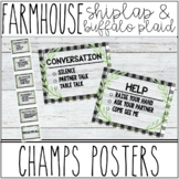 Farmhouse - Shiplap & Buffalo Plaid CHAMPS Posters for classroom expectations