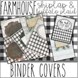 Farmhouse - Shiplap & Buffalo Plaid Editable Binder Covers & Spines