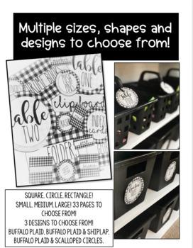 Farmhouse - Shiplap & Buffalo Plaid Editable Labels of All Sizes!