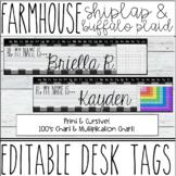 Farmhouse - Shiplap & Buffalo Plaid Name Tags / Desk Plates