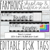 Farmhouse - Shiplap & Buffalo Plaid Name Tags / Desk Plates