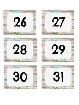 Farmhouse Shiplap Calendar Months and Dates