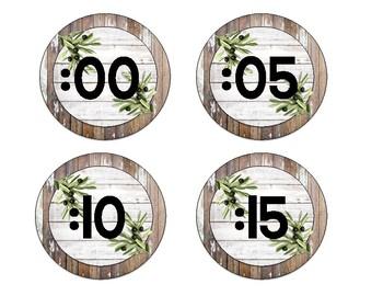 Farmhouse Shiplap Clock Labels