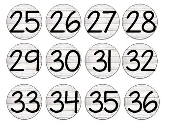 Farmhouse Shiplap Numbered Circle Labels