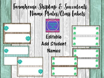 Farmhouse Shiplap & Succulents Name plates/Desk tags