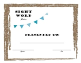 Farmhouse Sight Word Award Certificate