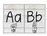 Farmhouse Sign Language ABC Chart Edison Retro Lights and Shiplap
