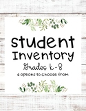 Farmhouse Student Inventory Worksheets K-8 | First Day of School Questionnaire
