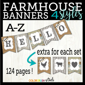 Farmhouse Style Banners in 4 Styles With Extra Elements