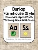 Farmhouse Style Burlap Alphabet and Word Wall Cards