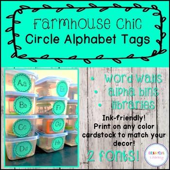 Farmhouse Style Circle Alphabet Tags