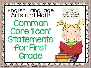 "Farmhouse Style ELA and Math Common Core ""I can"" Statements for First Grade"