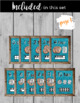 Farmhouse Style Number Posters 1-20; Teal Burlap with FREE Black & White Version