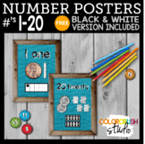 Farmhouse Style Number Posters 1-20; Teal Burlap with FREE