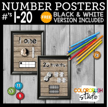 e7123f2a27 Farmhouse Style Number Posters 1-20  with FREE Black   White ...