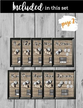 Farmhouse Style Number Posters 1-20; with FREE Black & White Version