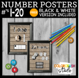Farmhouse Style Number Posters 1-20; with FREE Black & Whi