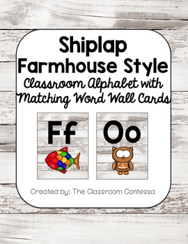Farmhouse Style Shiplap Alphabet with Matching Word Wall Cards