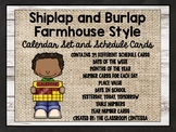Farmhouse Style Shiplap and Burlap Calendar Set and Schedule Cards