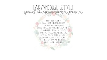 Farmhouse Style Special Education Teacher Planner