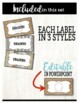 Farmhouse Style Supply Labels - editable!