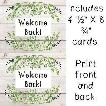 "Farmhouse Style ""Welcome Back!"" Cards (First Day of School)"