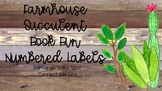 Farmhouse Succulent Numbered Book Bin Labels