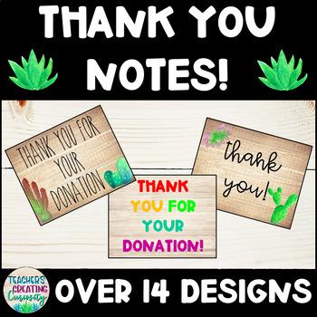 Farmhouse Succulent/Cactus Thank You Notes