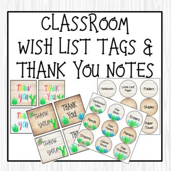 Farmhouse Succulent/Cactus Thank You Notes & Wish List Bundle