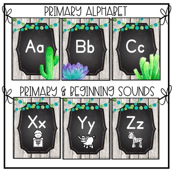Farmhouse Succulent Classroom Alphabet Set