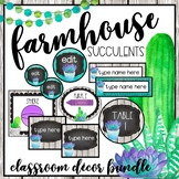 Farmhouse Succulents Classroom Decor Bundle