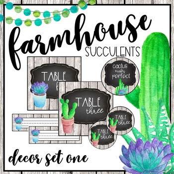 Farmhouse Succulent Classroom Decor Set One