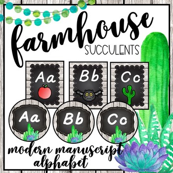Farmhouse Succulent Modern Manuscript Alphabet