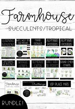 Farmhouse Succulent Tropical Decor BUNDLE!