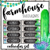 Farmhouse Succulents Classroom Calendar
