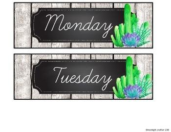 Farmhouse Succulents Cursive Classroom Calendar Set