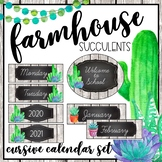 Farmhouse Succulents Cursive Classroom Calendar Set