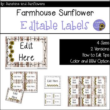 Farmhouse Sunflower Themed Editable Labels