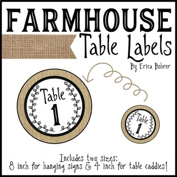 Farmhouse Table Labels