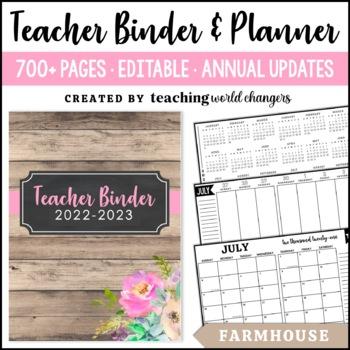 Farmhouse Teacher Binder