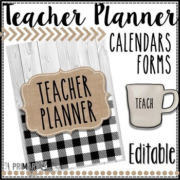 Farmhouse Teacher Planner- Editable