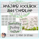 Farmhouse Teacher Toolbox and Sterilite Labels