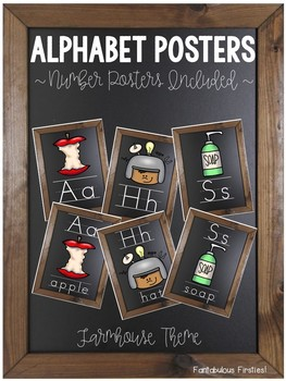 Farmhouse Theme Alphabet and Number Posters for Back to School