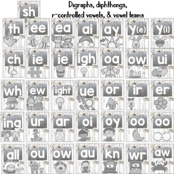 Farmhouse Theme Classroom Alphabet & Chunks Tin, Shiplap & Cotton