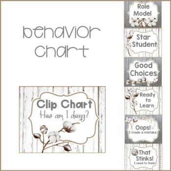 Farmhouse Theme Classroom Behavior Chart & Rules Tin, Shiplap & Cotton FREEBIE