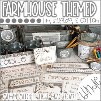 Farmhouse Classroom Decor Bundle with Tin, Shiplap & Cotton