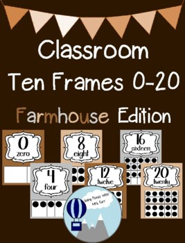 Farmhouse Theme Classroom Ten Frames Posters 0-20