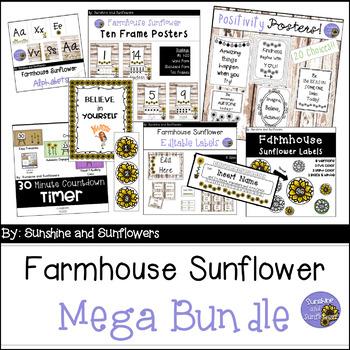 Farmhouse Sunflower Themed Decor Bundle - Classic Sunflowers