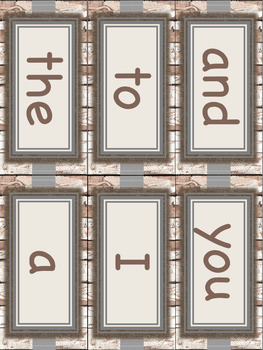 Farmhouse Theme Dolch Pre-Primer Sight Word Wall Cards
